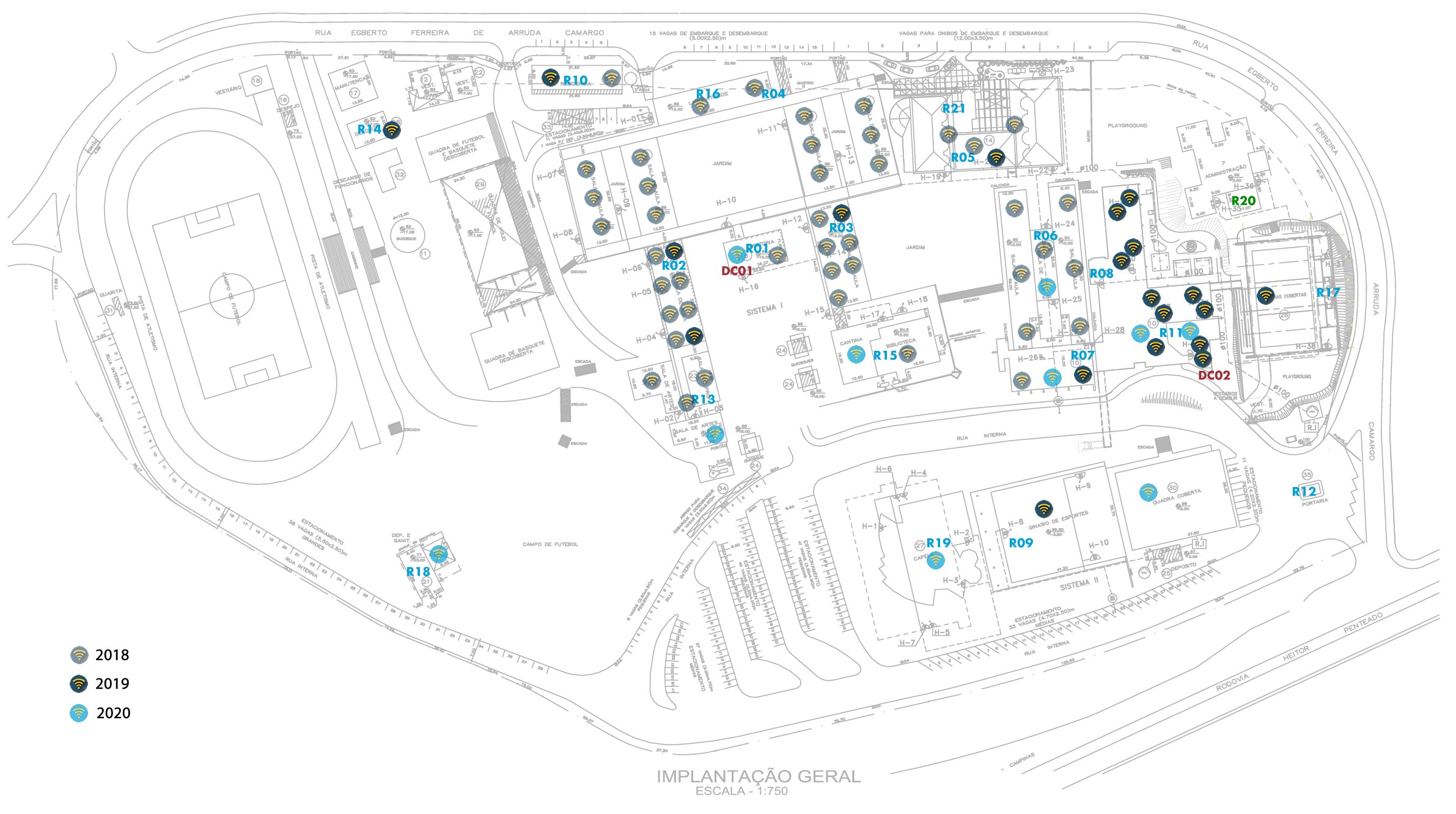 mapa do ambiente wi-fi